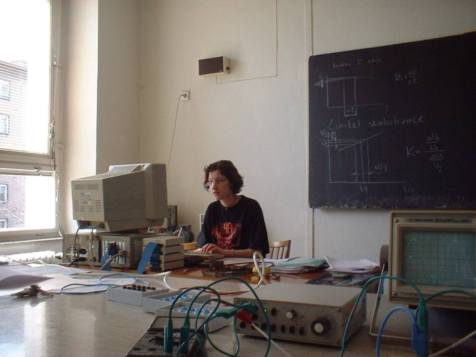 Ilona with a computer back in the days